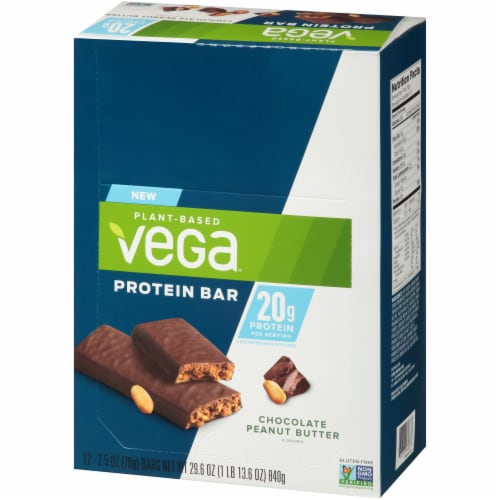 Vega Chocolate Peanut Butter Protein Bars 12 Count Perspective: right