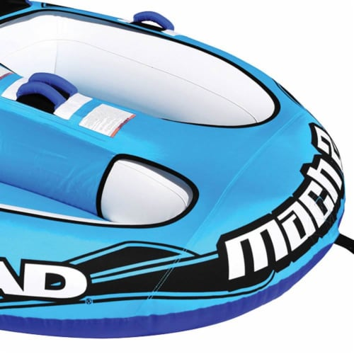 Airhead Mach 2 Inflatable 2 Rider Cockpit Lake Water Towable Tube, Blue (2 Pack) Perspective: right