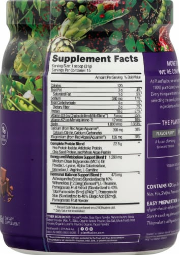 PlantFusion Inspire for Women Chocolate Protein Powder Perspective: right