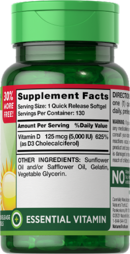 Nature's Truth High Potnecy Vitamin D3 Softgels 125mcg Perspective: right