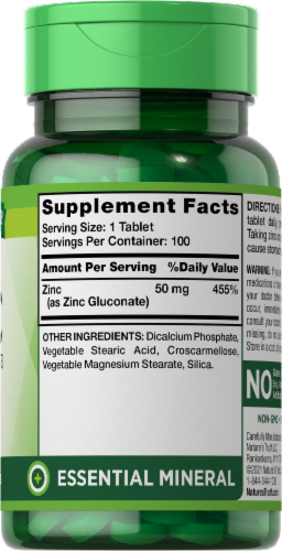Nature's Truth Chelated Zinc Tablets 50mg Perspective: right