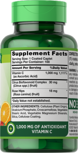 Nature's Truth Bioflavonoids & Rose Hips Vitamin C Tablets 1000mg Perspective: right
