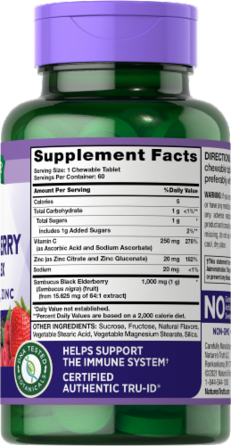 Nature's Truth Immune Complex Elderberry + Vitamin C Chewable Tablets Perspective: right