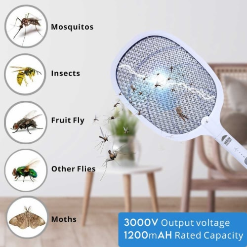 WBM Smart Bug Zapper, Electric Fly Swatter & Lamp, USB Rechargeable, 3-Layer Safety Mesh Perspective: right