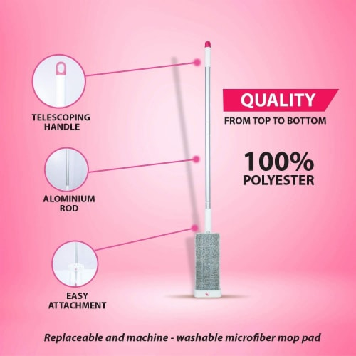 WBM Home Floor Mop, Microfiber Cleaning System, Long Aluminium Rod, Best for All Floor Types Perspective: right