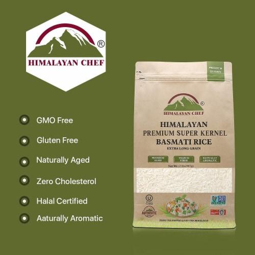 Himalayan Chef Basmati Rice, Fluffy & Long-Grain, Standup & Resealable Bag | 2 lbs - Pack 2 Perspective: right