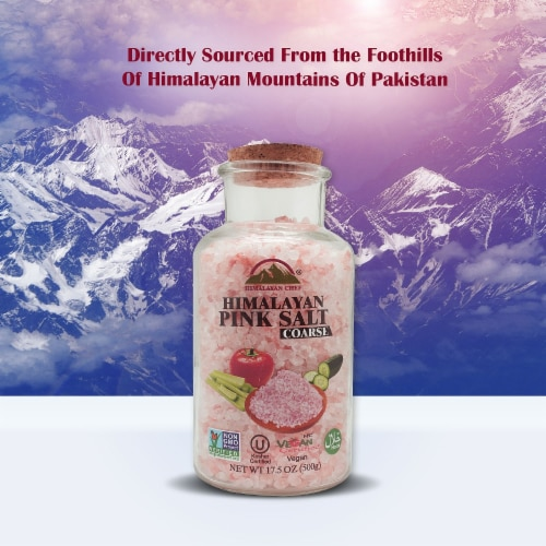 Himalayan Chef Pink Salt, Nutritious & Pure, 17.5 Oz Coarse Grain Glass Jar Refill | 6 Packs Perspective: right