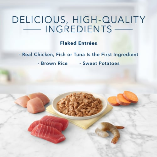 Blue Buffalo Tastefuls Tuna Chicken Fish & Shrimp Natural Flaked Wet Cat Food Variety Pack Perspective: right