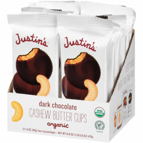 Justin's Dark Chocolate Cashew Butter Cups Perspective: right