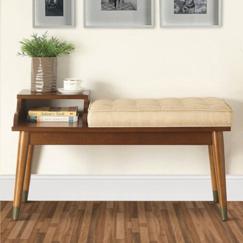 ACME Baptis Bench in Walnut and Fabric Perspective: right