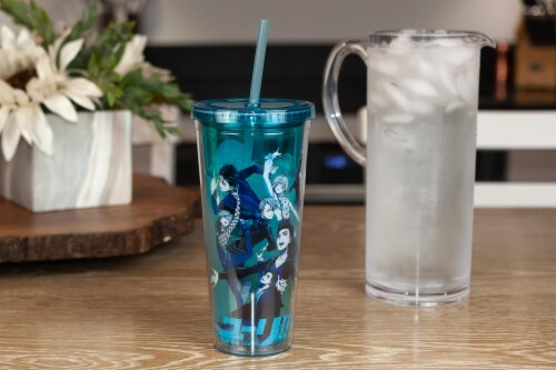 Yuri On Ice Characters Plastic Tumbler Cup With Lid & Straw | Holds 16 Ounces Perspective: right