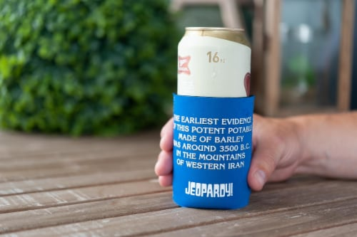 Jeopardy What Is Beer Koozie Insulated Can Koozie | Foam Beer Can Cooler Sleeve Perspective: right