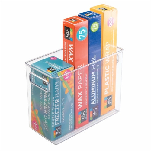 mDesign Tall Plastic Kitchen Food Storage Organizer Bin, Handles, 4 Pack Perspective: right