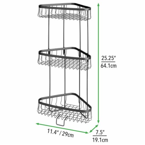 mDesign Metal 3-Tier Vertical Corner Shelf Unit for Bathroom Storage - Black Perspective: right
