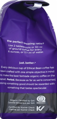 Ethical Bean Coffee Lush Medium Dark Roast Ground Arabica Coffee Perspective: right