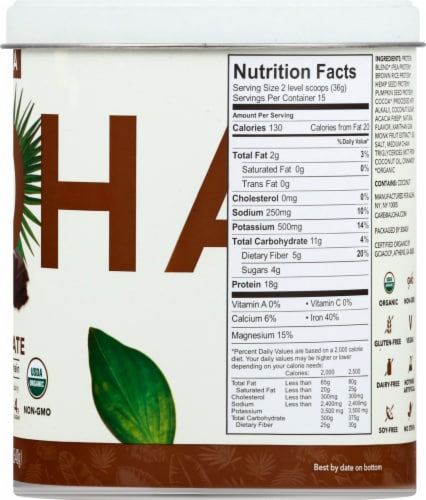 Aloha Organic Chocolate Protein Powder Perspective: right