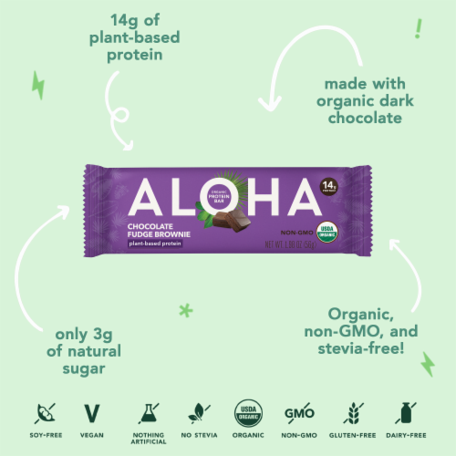Aloha Organic Chocolate Fudge Brownie Protein Bars Perspective: right