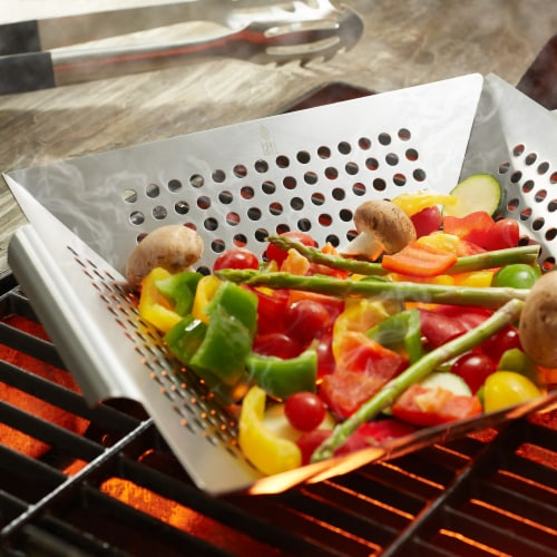 Vegetable Grilling Basket, Stainless Steel by Pure Grill Perspective: right