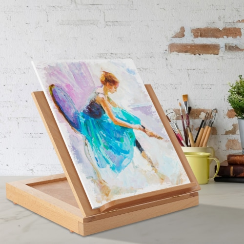 Beechwood Table Easel- Adjustable with Palette and Storage- 7 Elements Perspective: right