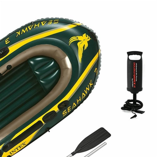 Intex Seahawk 3 Person Inflatable Boat Set with Aluminum Oars & Pump (2 Pack) Perspective: right