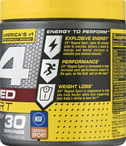 Cellucor C4 Arctic Snow Cone Ripped Sport Pre-Workout Perspective: right