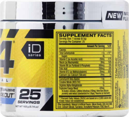 C4 Original Icy Blue Razz Pre-Workout Dietary Supplement Perspective: right