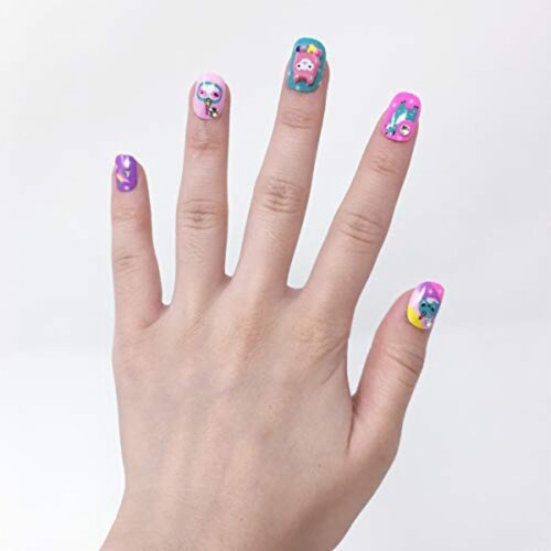 Scented Nail Glitz Llama - 20 Scented 3D Press on Nails, Matching Ring, 40+ Nail Stickers Perspective: right