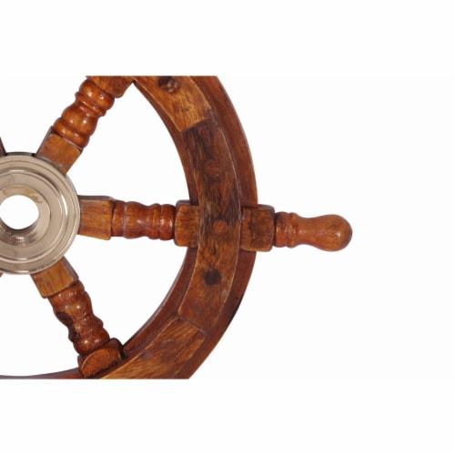 Benzara Teak Wood Ship Wheel Wall Decor - Brown/Gold Perspective: right