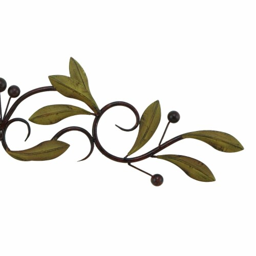 Benzara Olive Branch Door Top Wall Hanging In Metal - Green/Brown Perspective: right