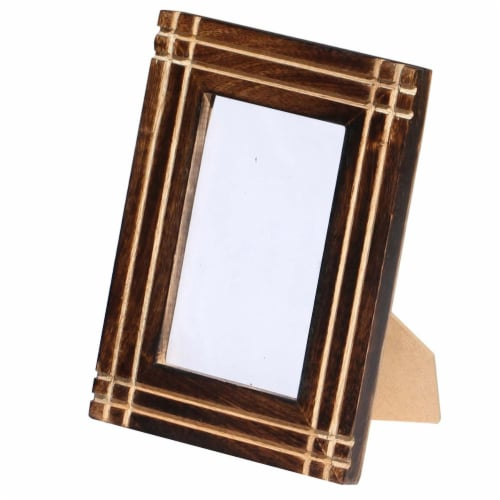 Benzara Rustic Horizontal And Vertical Handcrafted Picture Frame- Brown Perspective: right