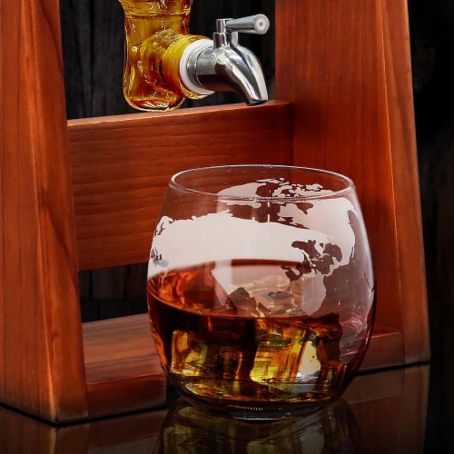 NutriChef Home Bar Glass Barrel Whiskey Carafe Alcohol Decanter Set w/ Glasses Perspective: right