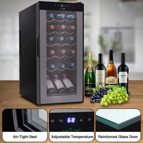 NutriChef Digital Electric 18 Bottle Thermoelectric Wine Chiller Cooler, Black Perspective: right