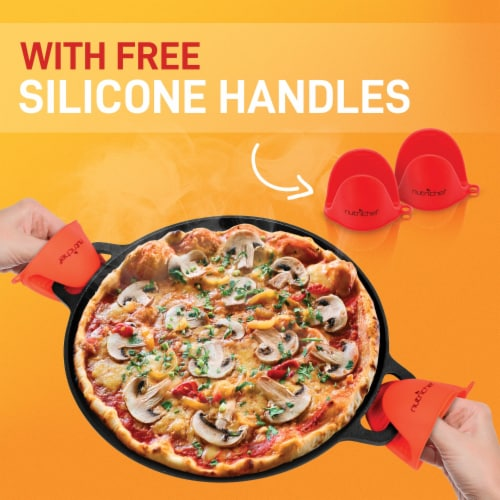 NutriChef NCCIPD 14-Inch Cast Iron Pizza/Baking Pan Perspective: right