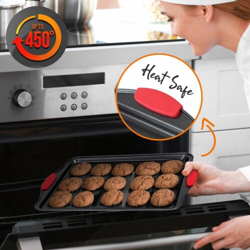 NutriChef Kitchen Deluxe Oven Non Stick Gray Carbon Steel 3 Piece Bakeware Set Perspective: right