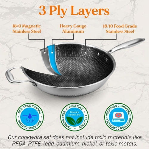 """NutriChef 12"""" Stainless Steel Nonstick Cooking Wok Stir Fry Pan with Lid, Silver Perspective: right"""