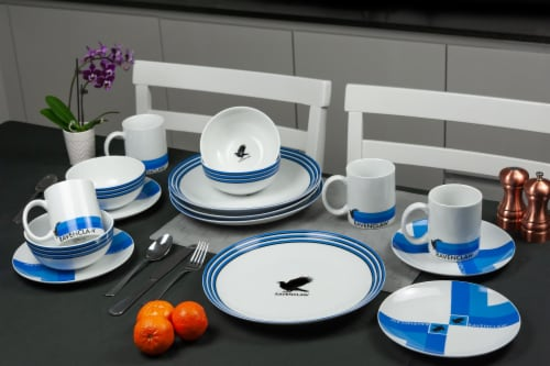 Harry Potter Ravenclaw 16-Piece Porcelain Dinnerware Set | Plates, Bowls & Mugs Perspective: right