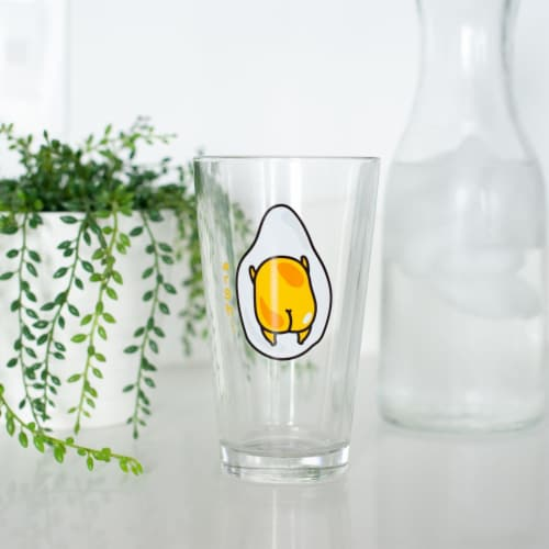 OFFICIAL Gudetama Lazy Egg Glass | Feat. Gudetama Laying Face Down | 16 Oz. Cup Perspective: right