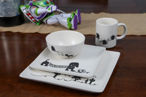 Toy Story 4-Piece Ceramic Dinnerware Set With Scribble Characters Perspective: right