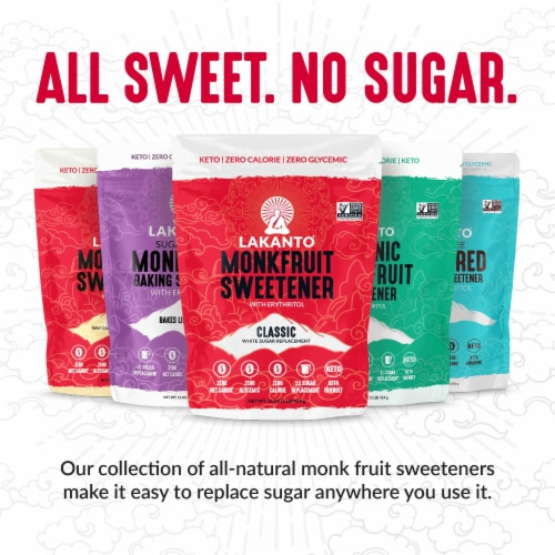 Lakanto Powdered Monkfruit Sweetener - 1:1 Powdered Sugar Substitute (1.76 lbs) Perspective: right