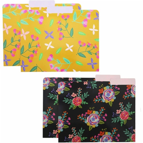 Decorative File Folders with 1/3 Cut Tabs, 6 Vintage Floral Designs (9.5 x 11.5 In, 12 Pack) Perspective: right