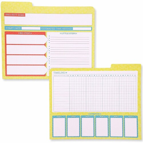 Project File Folders, 1/3 Cut Tab, Letter Size, Notes Section, 6 Colors (12 Pack) Perspective: right