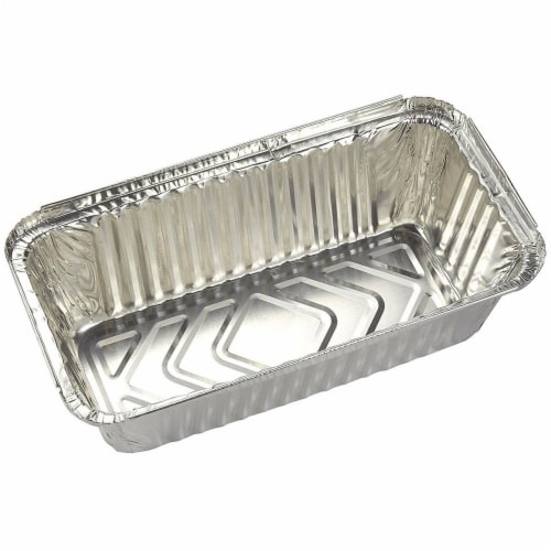 50 Pack Disposable Aluminum Foil Loaf Pans with Lid, 22 Ounce, 8.5 x 2.5 x 4.5 inches Perspective: right