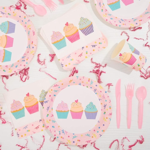 Cupcake Party Supplies, Paper Plates, Napkins, Cups and Cutlery (Serves 24, 144 Pieces) Perspective: right