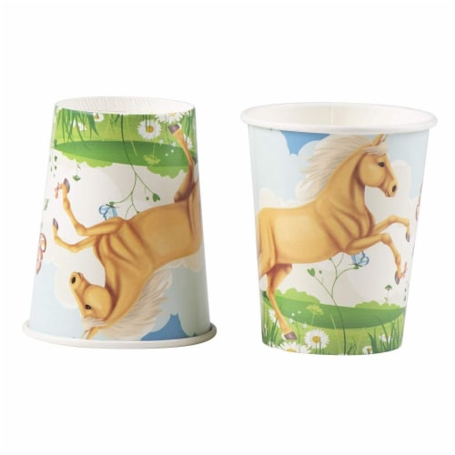 Horse Party Supplies, Paper Plates, Napkins, Cups and Plastic Cutlery (Serves 24, 144 Pieces) Perspective: right