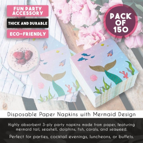 Mermaid Party Supplies, Luncheon Napkins (6.5 x 6.5 In, 150-Pack) Perspective: right