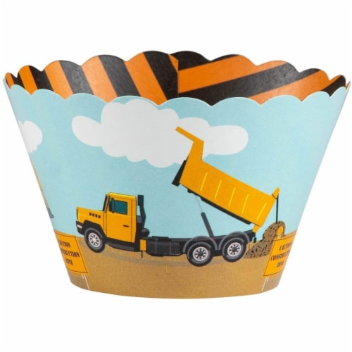 100-Piece Construction Zone Cupcake Toppers and Liners for Kids Birthday Party Supplies Perspective: right