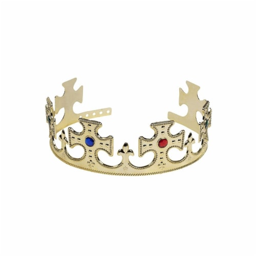 Gold Crown - 4-Pack Royal King and Queen Jeweled Costume Accessories, Party Hat Perspective: right