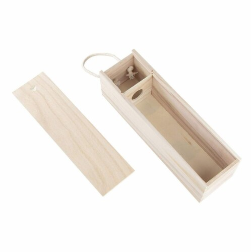 Juvale 2-Pack Wooden Wine Gift Box with Handle for Party, Housewarming, 13.9 x 3.9 x 4 Inches Perspective: right