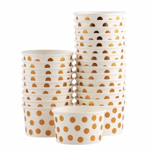 50-Pack 8 oz Disposable Paper Ice Cream Cup, Rose Gold Foil Polka Dots Design, White Perspective: right