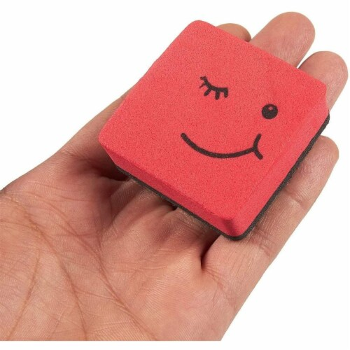 Mini Whiteboard Erasers for Classroom Supplies, Smiley Face (4 Colors, 24 Pack) Perspective: right